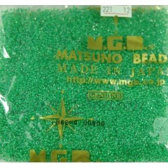 Бисер Matsuno круглый 12/0 цв.221 Прозр.Кристалл/Зеленый (цена за уп/10г)