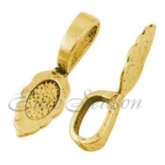 Бейл-Держатель клеевой мет.28x08х07мм Pnd-GLF10728Y цв.Золото (цена за 1шт)