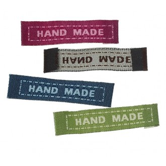 Бирка HAND MADE 44x10мм ткань Жаккард цв.09 (цена за 1уп/5шт)