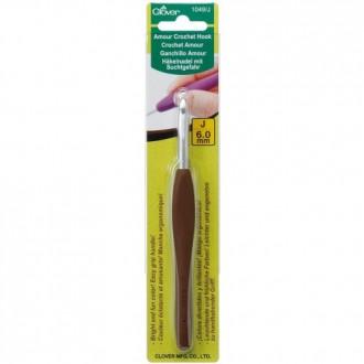 Крючок для вязания Clover Amour (Япония) 6.0мм, металл с прорезиненной ручкой (Цена за 1шт)