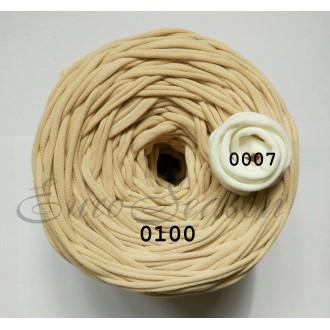 Трикотажная пряжа 7-9мм Хлопок 100% цв.0100 Капучино  (Бобина 100-110м)