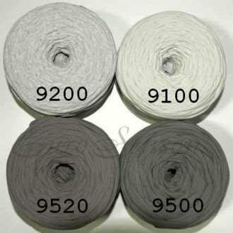 Трикотажная пряжа 7-9мм Хлопок 100% цв.9100 Св.Серый (Бобина/100-110м)